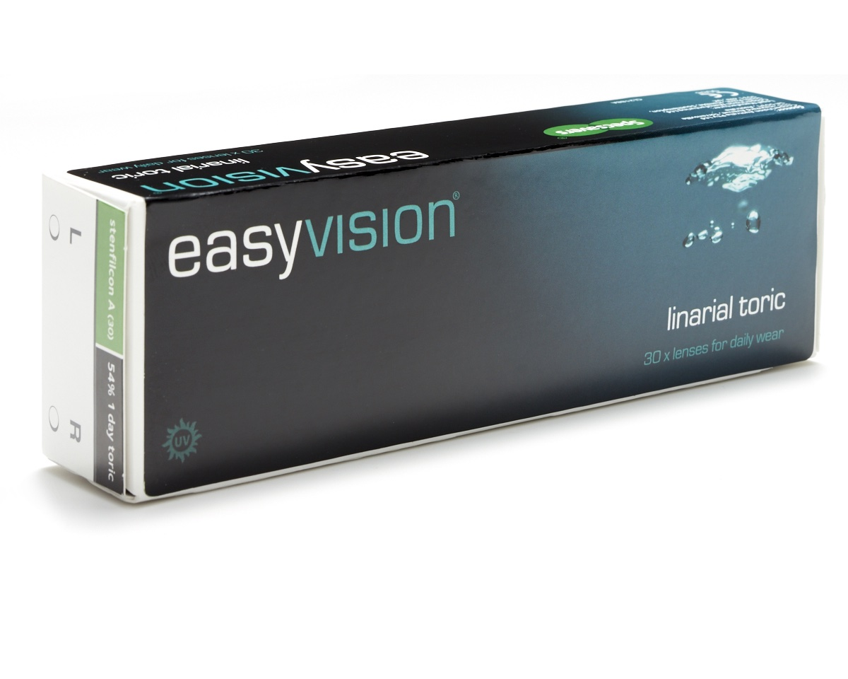easyvision Linarial Toric Daily <p>Specsavers easyvision linarial toric daily replacement contact lenses are manufactured by Coopervision for Specsavers. easyvision daily linarial toric lenses offer the convienence of single use lenses and correction for astigmatism at exceptional value. These lenses benefit from UV blocker and smart silicone technology. The advanced material used in easyvision Linarail toric lenses creates a thin, flexible lens that allows extra oxygen to the eye making the lenses comfortable throughout the day and healthy to wear.</p>